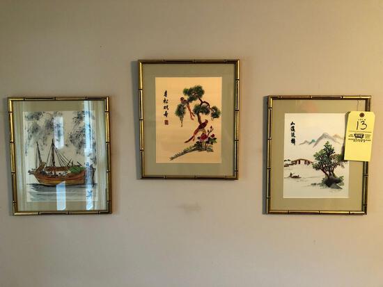 Oriental wall art, barometer, oil on canvas