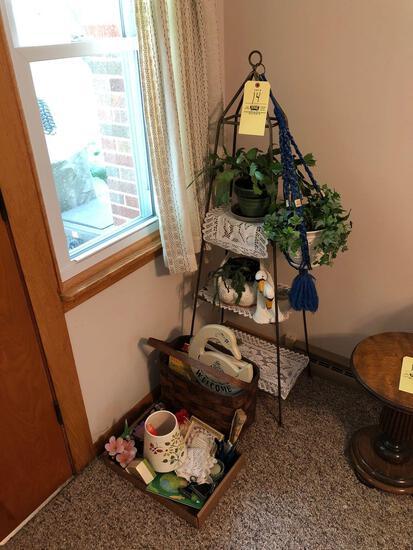 Plant stand, basket, books, decor