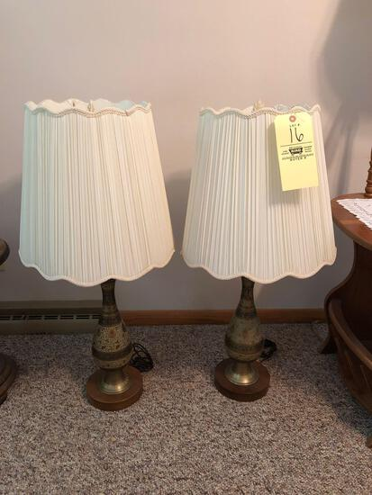 (2) brass pitcher lamps