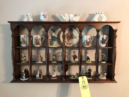 Shadow box w/ Norman Rockwell figurines