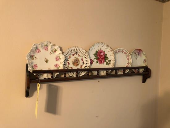 shelf w/ china plates