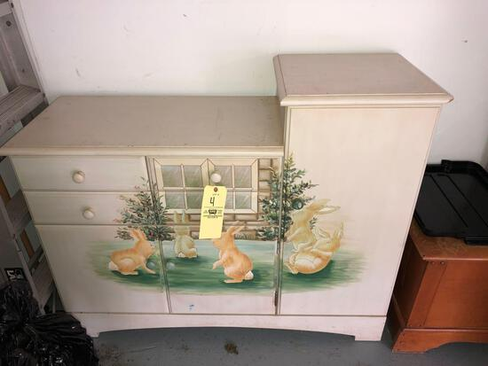 Chest of drawers with bunny scene