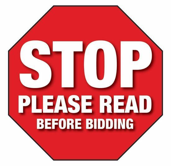 Stop! Please read before bidding!