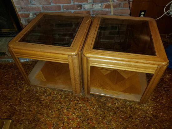 Pair of Glass Top End Stands