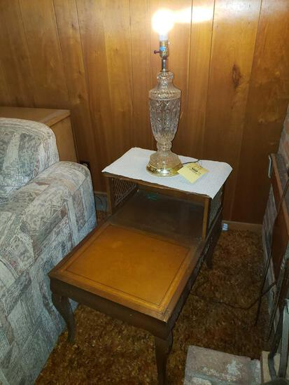 Step Top Side Table with Glass Lamp