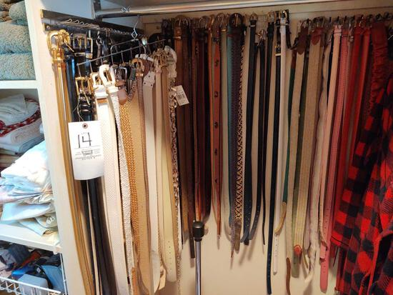Assorted Women's Belts mostly Size S/M & First Class Deluxe Shoe Polisher