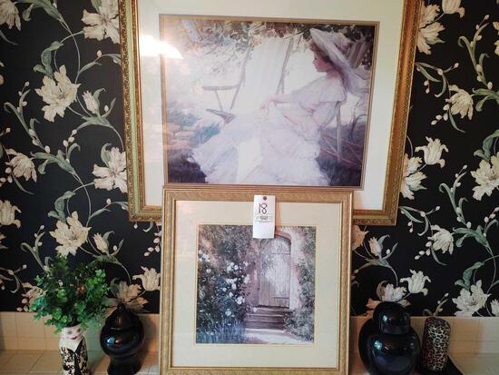 Two Framed Pictures, Urns & Decor