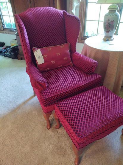 Upholstered High Back Armchair & Ottoman
