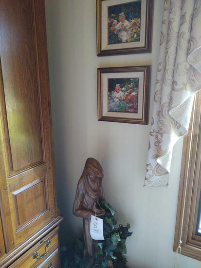 Wood Carved Statue and 2 Framed Pictures