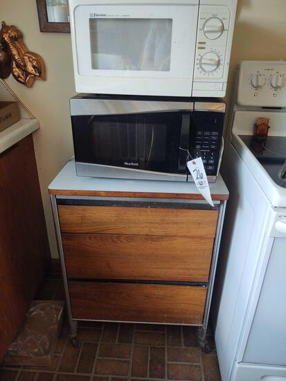 Rolling Storage Unit, Emerson Microwave & West Bend Microwave