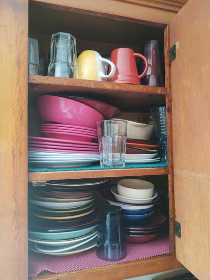 Contents of Kitchen Cabinets, Inc Glasses, Dishes, Pots Pans etc.