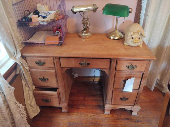 Wooden Desk, Desk Lamps, Pig Figuerine, Albert Williams Print and Contents