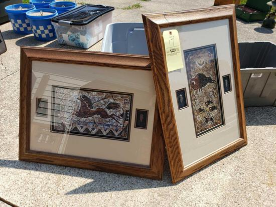 Two Framed and Matted Native Prints with Arrowheads