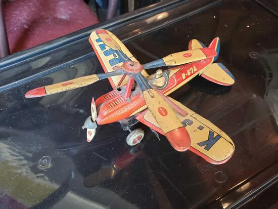 Pre-War Japanese Autogyro Tin Toy Airplane