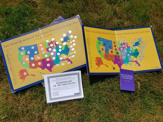 Two Complete Set State Quarters Maps