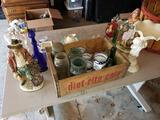 Assorted Collectibles, Glassware, Figures, Basket