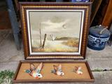 Franed Oil on Canvas signed E. Max, Duck Decor