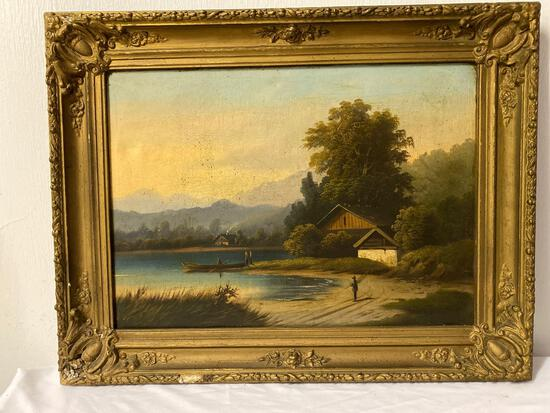 Unsigned oil on canvas of German landscape, 31.5 x 24.5 frame, 25.5 x 18.5 canvas.