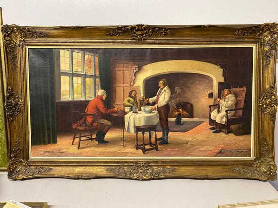 "Signed oil on canvas, ""The Landlord's Brew"", 23.75 x 47.25 canvas size."