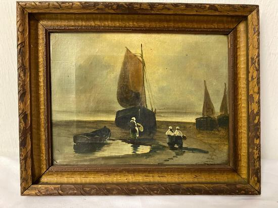 Unsigned oil on canvas, sailboats scene, 12 x 9 canvas size.