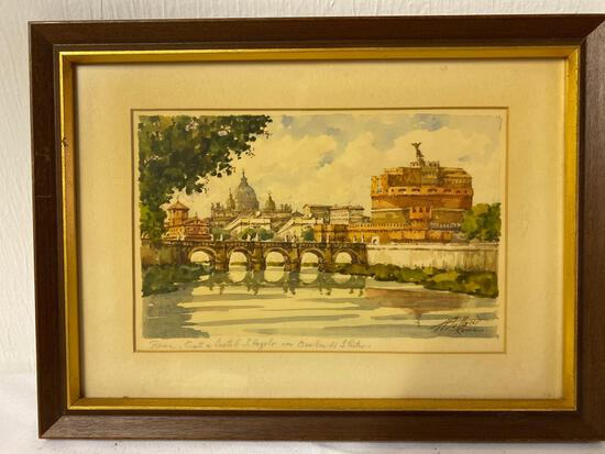 Signed watercolor of Rome Basilica, 15.25 x 11.25 frame size.