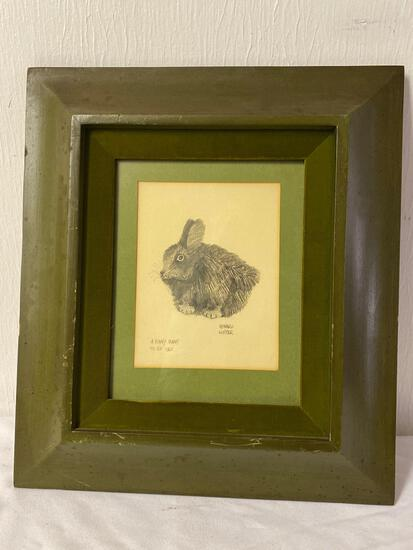 "Edward Lupper pencil drawing, ""A Funny Bunny"" 1965, 15 x 17 frame size."