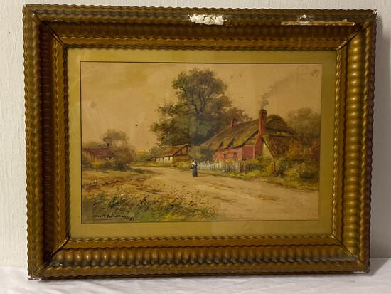 George F. Schultz 1887 watercolor, 28 x 21.5 frame size, plaster on frame needs repair.
