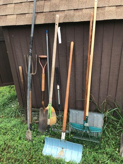 Yard tools - rakes - potato fork - pick - etc.