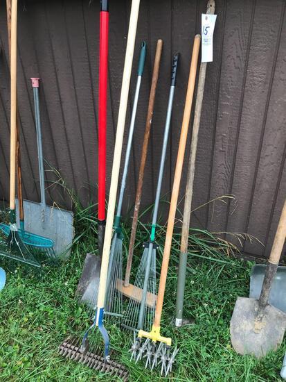 Yard tools - rakes - hoe