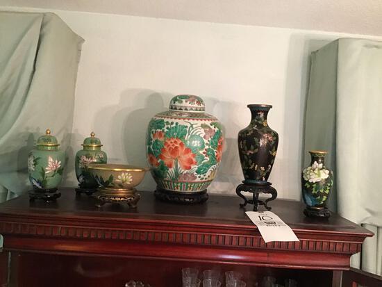 Metal enamel oriental vases