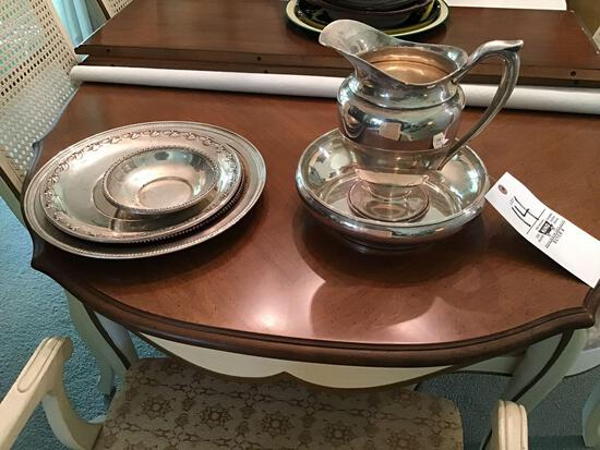 Sterling silver servingware including picture and bowl and serving trays