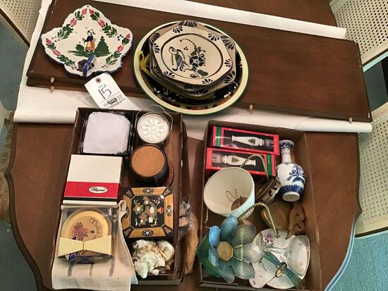 Assorted dishes, holiday vases, coasters, flatware and decor