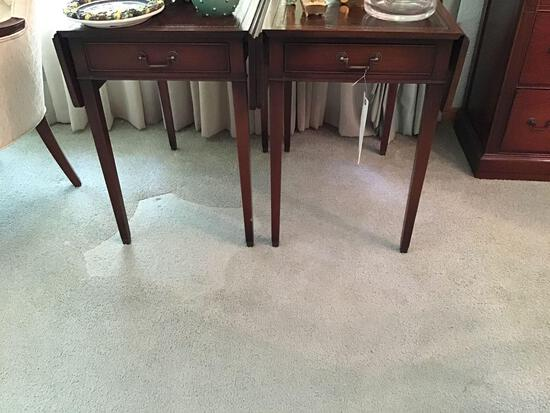 Two leather inlay top drop-leaf end tables with drawer