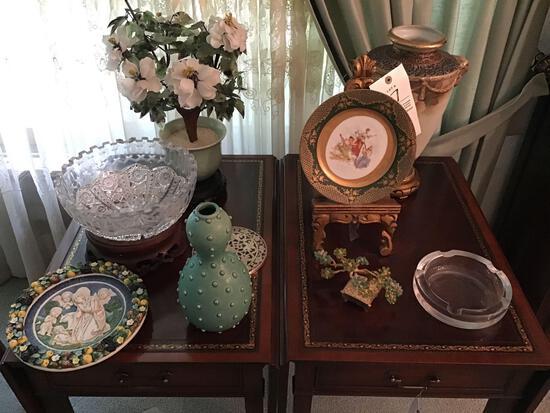 Nippon vase, lead cut crystal bowl, Jonathan Adler vase and assorted china