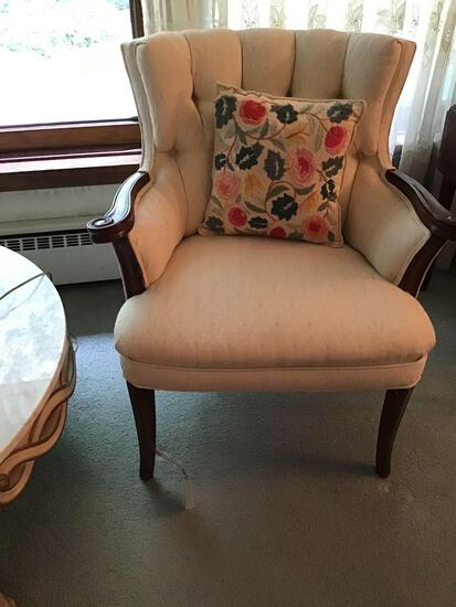 Two upholstered armchairs