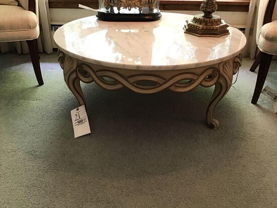 French provincial marble-top coffee table