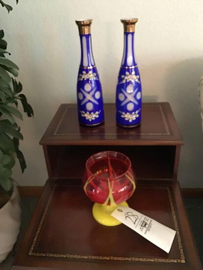 Bohemian cut vases and art glass vase