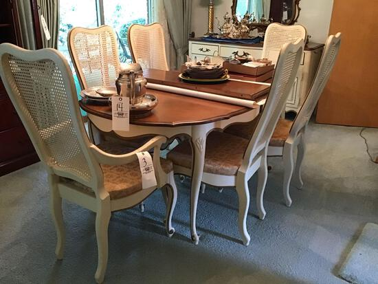French provincial dining set with six chairs, dining table, and two extra leaves