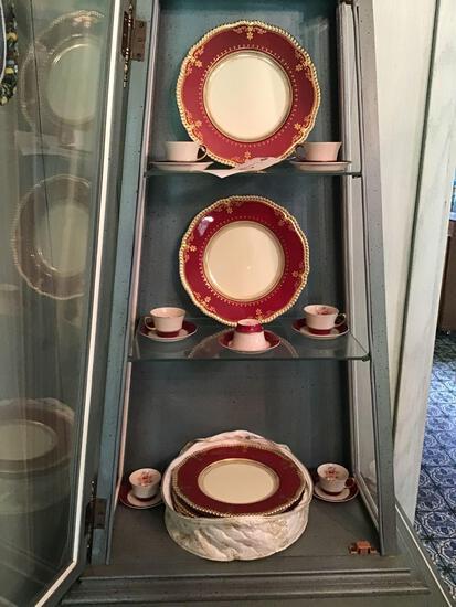 Arabia china set and crystal bowl