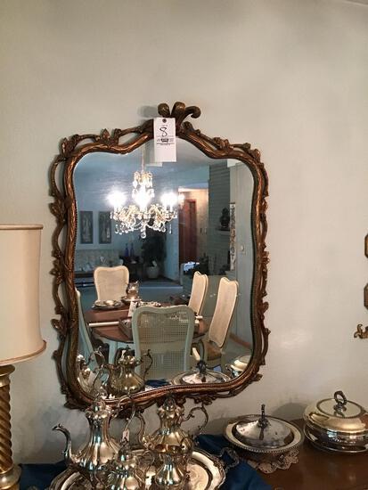 Gold framed mirror, framed bird plates, and lamp