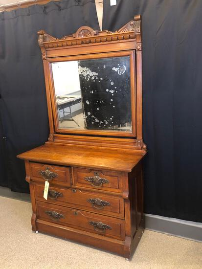Victorian Oak Two-Over-Two Chest with Mirror