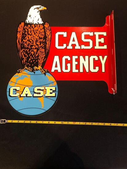 Case Agency Double-Sided Porcelain Sign
