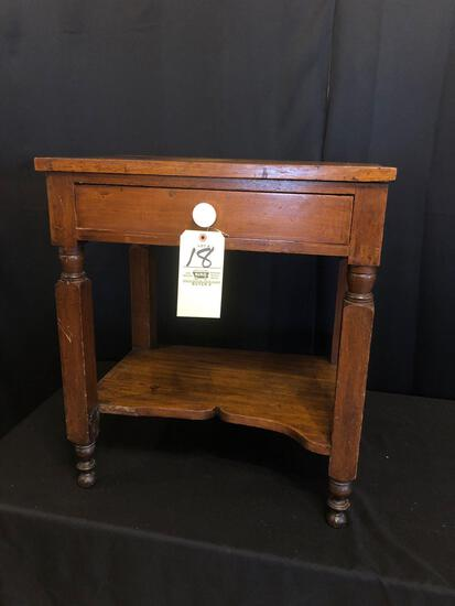 Early Single-Drawer Dove-Tailed Stand with Porcelain Pull