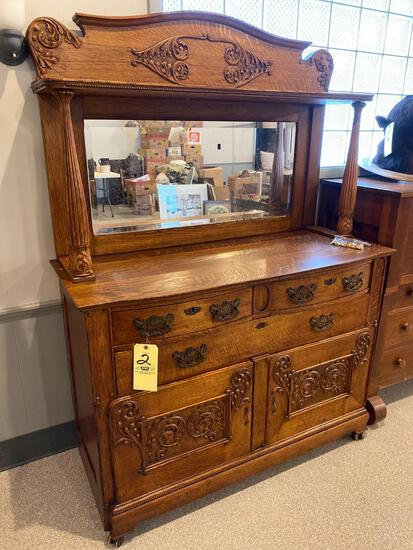 Fancy Oak Buffet with Mirror and Applied Carvings