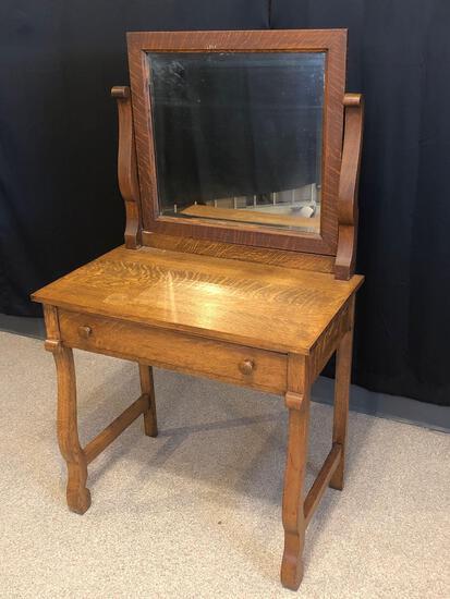 Oak Vanity/Desk with Mirror