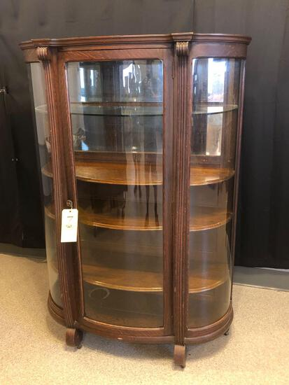 Oak Curved-Glass Mirrored-Back China Cabinet