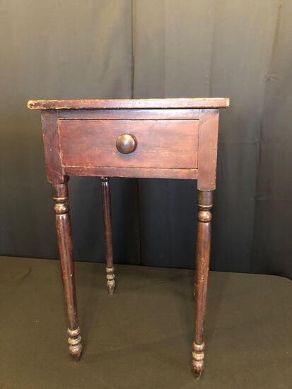 Early Dark Stained Single-Drawer Nightstand