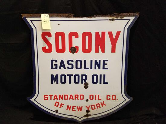 Socony Gasoline Motor Oil, Standard Oil Co. double sided porc. sign, 48 x 48 inches