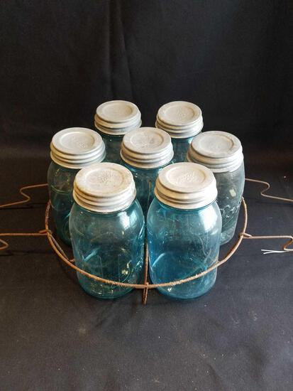 Blue jars with zinc lids and holder