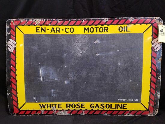 En-ar-co Motor Oil, white rose gas porcelain sign, 57.5 x 37 inches